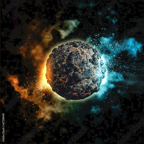 Space background with volcanic planet