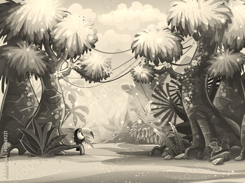 Illustration sunny morning in the jungle with bird toucan