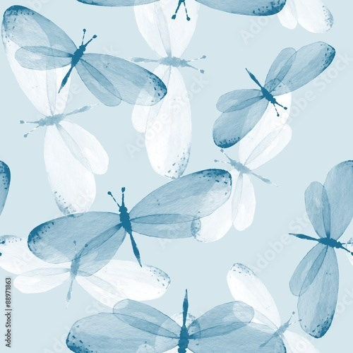 The pattern of butterflies. Seamless background. Watercolor illustration 12