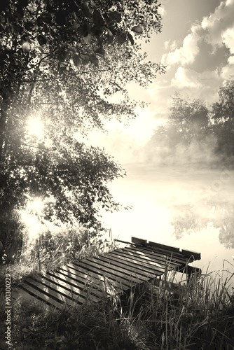 Fishing pier on river