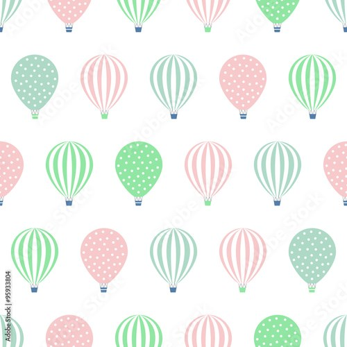 Hot air balloon seamless pattern. Baby shower vector illustrations isolated on white background. Polka dots and stripes. Pastel colors hot air balloons design.