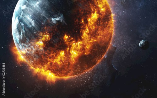 Abstract apocalyptic background - burning and exploding planet . This image elements furnished by NASA