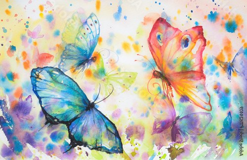 Handpainted colorful background with flying butterflies.Picture created with watercolors.