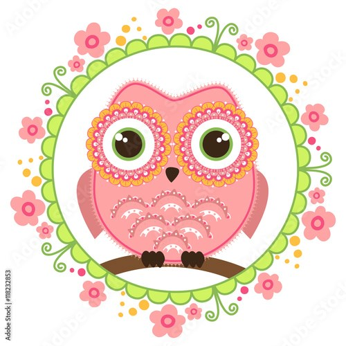 Cute cartoon owl sitting on a branch into floral round decoration. Childish card in pink colors