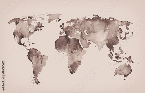 World map in old style in  format, brown graphics in a retro sty