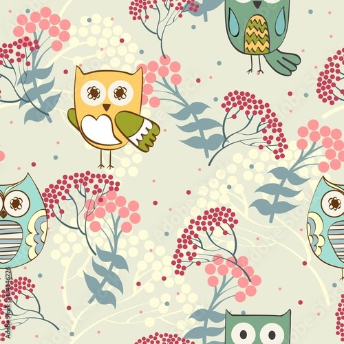 Cute floral seamless pattern with owl and rowan