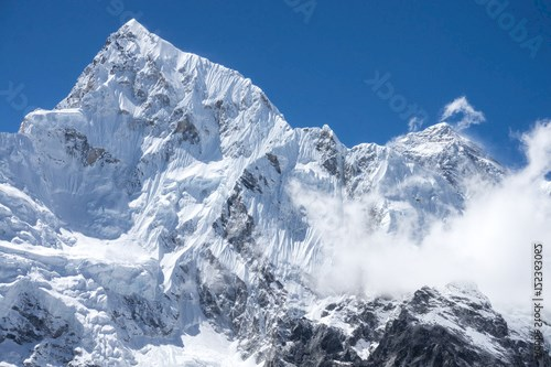 closed up view of Everest and Lhotse peak from Gorak Shep. During the way to Everest base camp. Sagarmatha national park. Nepal.