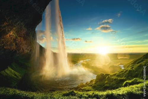 Seljalandfoss waterfall in summer time, Iceland