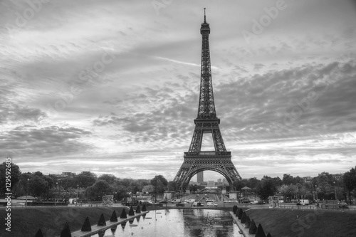 Cityscape with the Eiffel tower in Paris, France