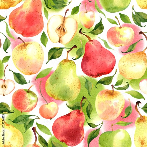 Seamless pattern with watercolor apples and pears on white background