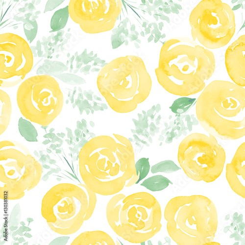 hand drawn watercolor roses and cute little flowers seamless pattern. vector illustration