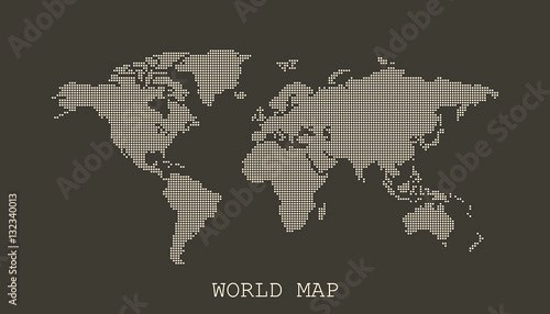 Dotted blank white world map isolated on black background. World map vector template for website, infographics, design. Flat earth world map with round dots illustration.
