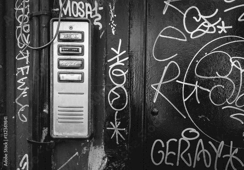 Door entry-phone with grafitti