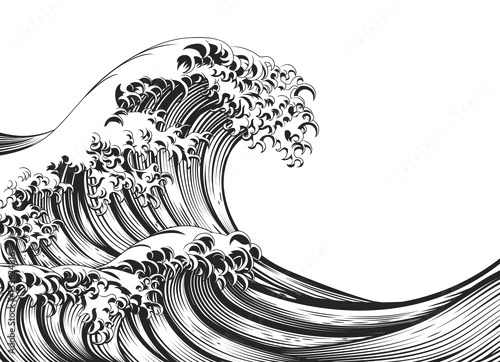 Great Wave Vintage Style Woodcut