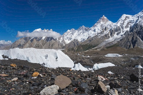 Masherbrum mountain peak behind Baltoro glacier, K2 trek, Pakistan