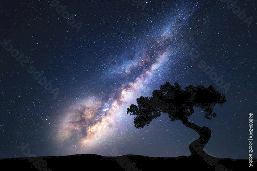 Milky Way with alone old tree on the hill. Colorful night landscape with milky way, sky with stars and hills in summer. Space background. Amazing astrophotography. Beautiful universe. Nature