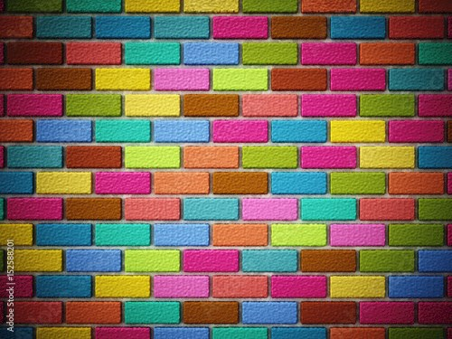 Multi colored bricks forming a wall. 3D illustration