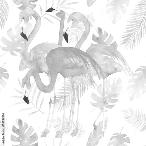 Watercolor seamless pattern with flamingo and tropic leaves