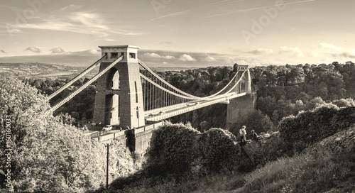 Bristol suspension bridge at sunset with climbers