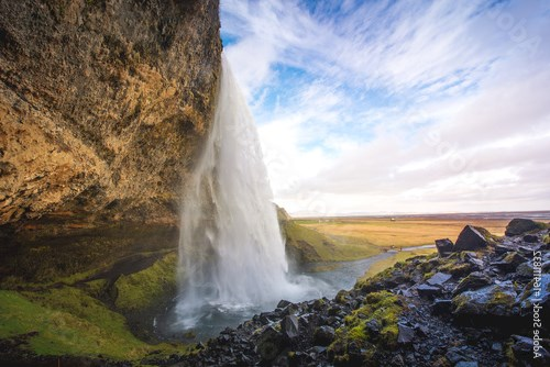 Beautiful waterfalls in Iceland with cloudy day