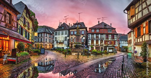 Rainy sunset in historical village Ribeauville, Alsace, France