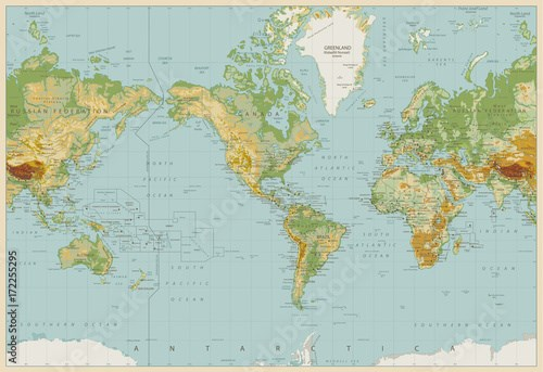 Vintage Color America Centered Physical World Map