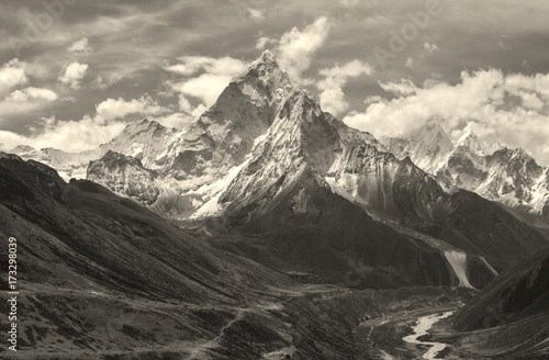 View of Ama Dablam over Solukhumbu valley, Himalayas Nepal