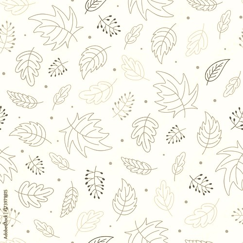 Seamless repeat pattern with autumn leaves illustration. Wallpaper design. Scrapbook page. Vector.