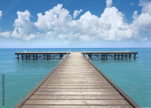 Perspective view of a wooden pier