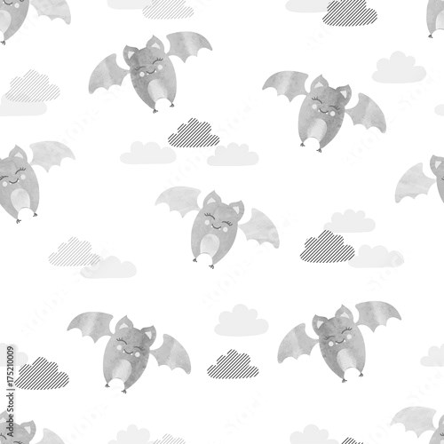 Cute flying bats pattern. Vector seamless background for kids