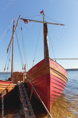 Traditional old wooden sailing boat Russian