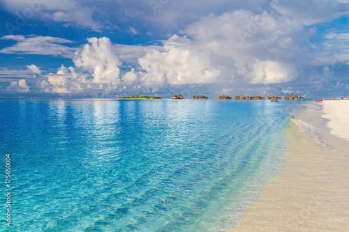 Beautiful beach landscape. Summer holiday and vacation concept. Inspirational tropical beach. Beach background banner