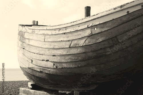 Hull of Wooden Boat on British Beach