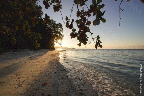 beautiful sunrise in Batanta island, raja ampat archipelago