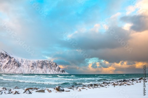 Winter Norway. Morning and Sea Surf