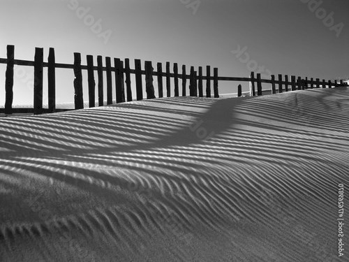 Sand dune against fences