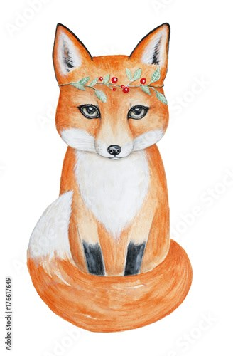Cute fox in a head floral wreath. Hand drawn watercolor illustration, isolated on white background.  Sitting, full length, portrait. Can be used for postcard, fabric, invite, greeting card, book.