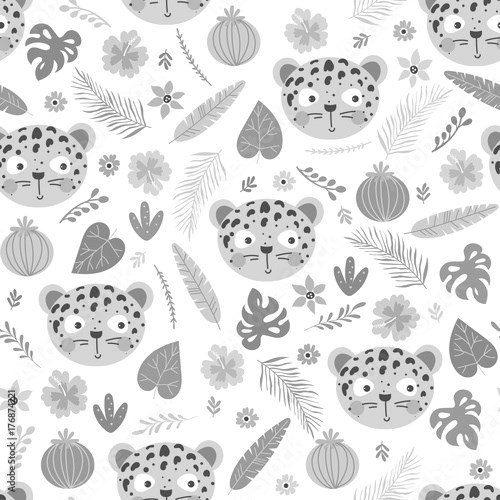 Seamless pattern with cute leopard