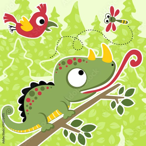 Forest animals cartoon, hungry chameleon, bird, dragonfly