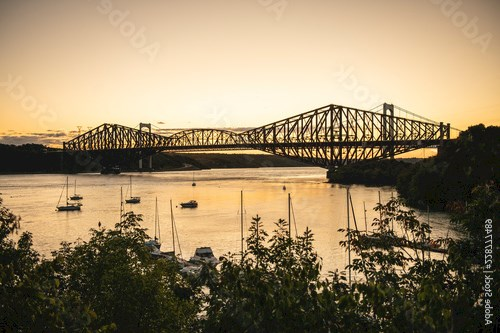 Quebec city bridge in Canada on the sunset