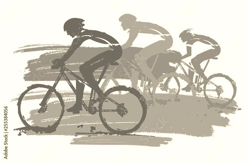 Three cyclists, racing, expressive stylized. Three cyclists in full speed. Imitation of hand drawing. Isolated on white background. Vector available.