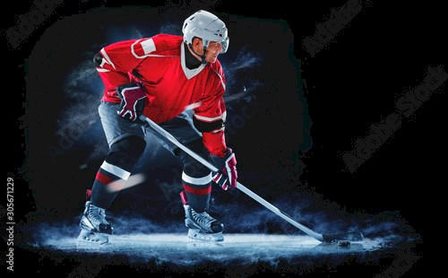 ice hockey player isolated on black background