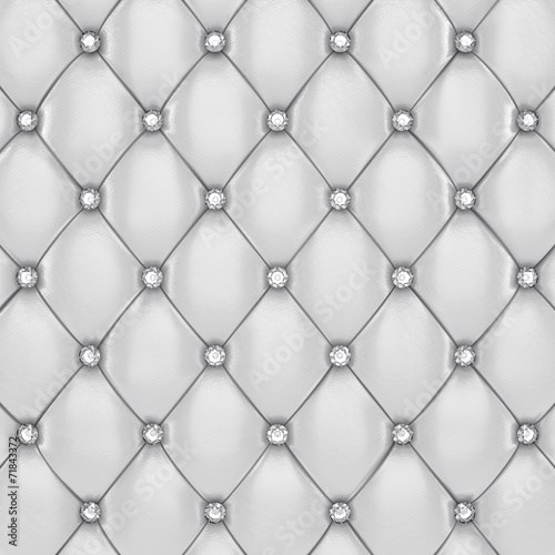 White leather upholstery pattern with diamonds