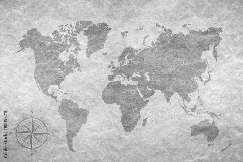 vintage paper  with world map