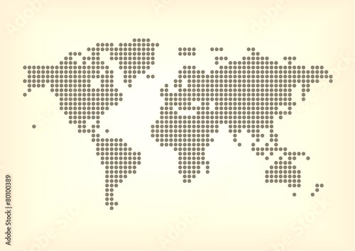 Vector illustration of dotted world map with all continent