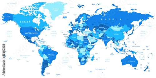 Highly detailed vector illustration of world map.Borders, countries and cities.