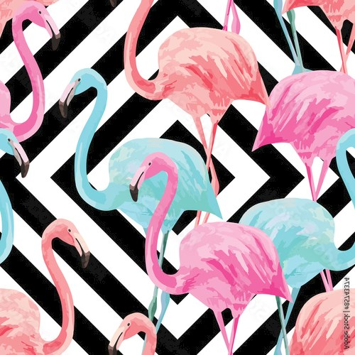 flamingo watercolor pattern, geometric background