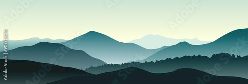 Mountain landscape in the summer morning. Horizontal vector illustration.