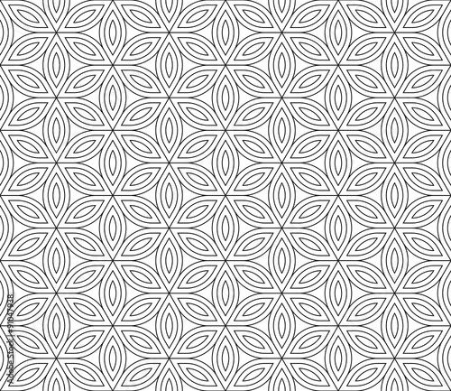 Vector modern seamless sacred geometry pattern , black and white abstract geometric flower of life background ,wallpaper print,  monochrome retro texture, hipster fashion design
