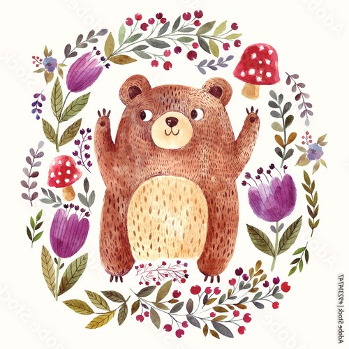 Adorable bear in watercolor technique.